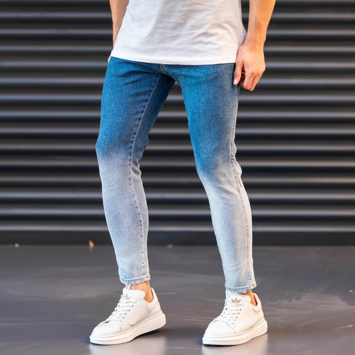 Men's Jeans In Denim&Powder Style Mv Premium Brand - 2