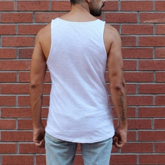 Men's La Boum Printed Striped Tank Top White MV Brand - 1