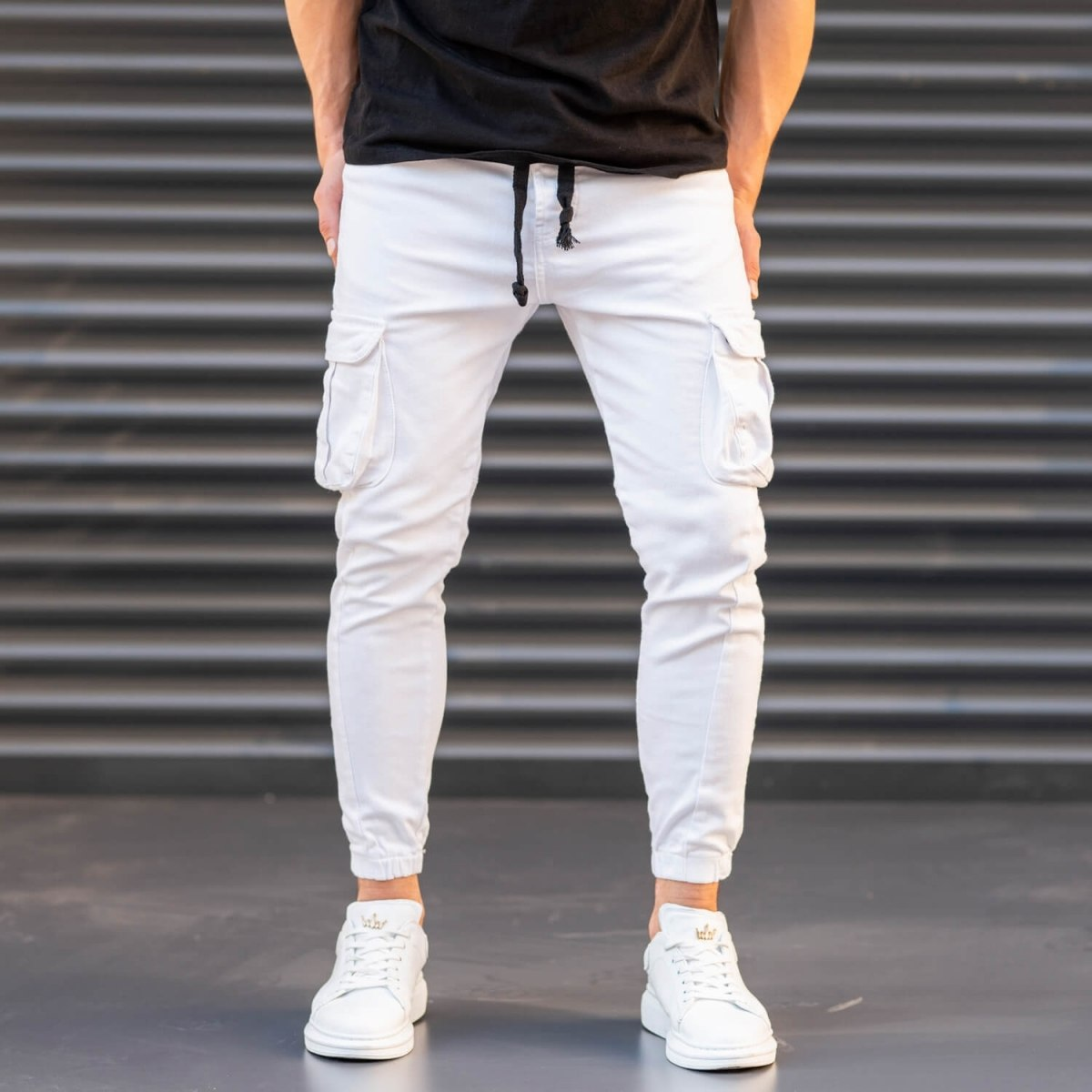 Men's Jeans with Pockets Style in White Mv Premium Brand - 1