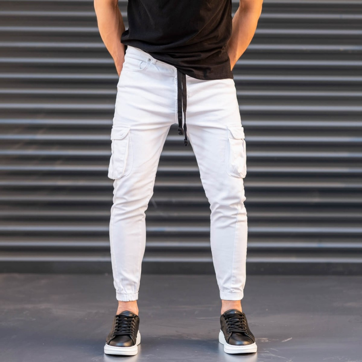 Men's Jeans with Pockets Style in White Mv Premium Brand - 2