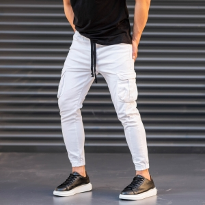 Men's Jeans with Pockets Style in White Mv Premium Brand - 3