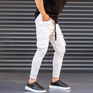 Men's Jeans with Pockets Style in White Mv Premium Brand - 4