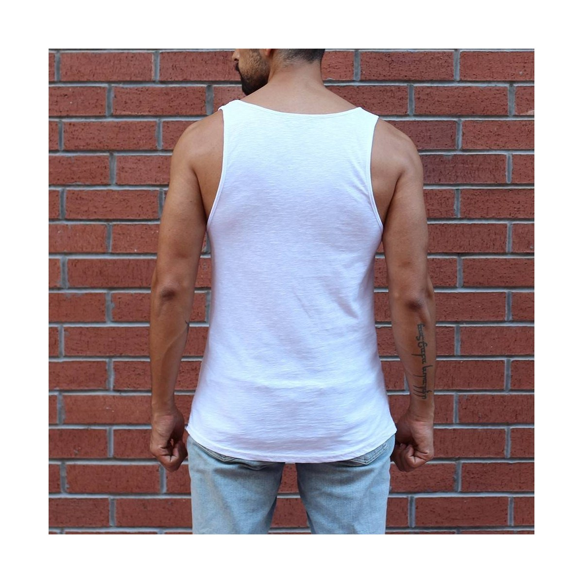Men's Motivation Pattern Tank Top in White MV Brand - 2