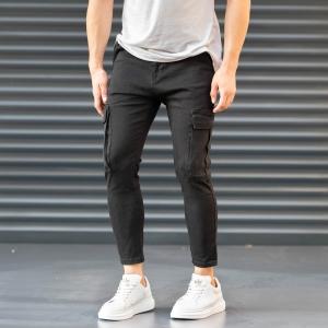 Men's Pocket Style Jeans in Black Mv Premium Brand - 3