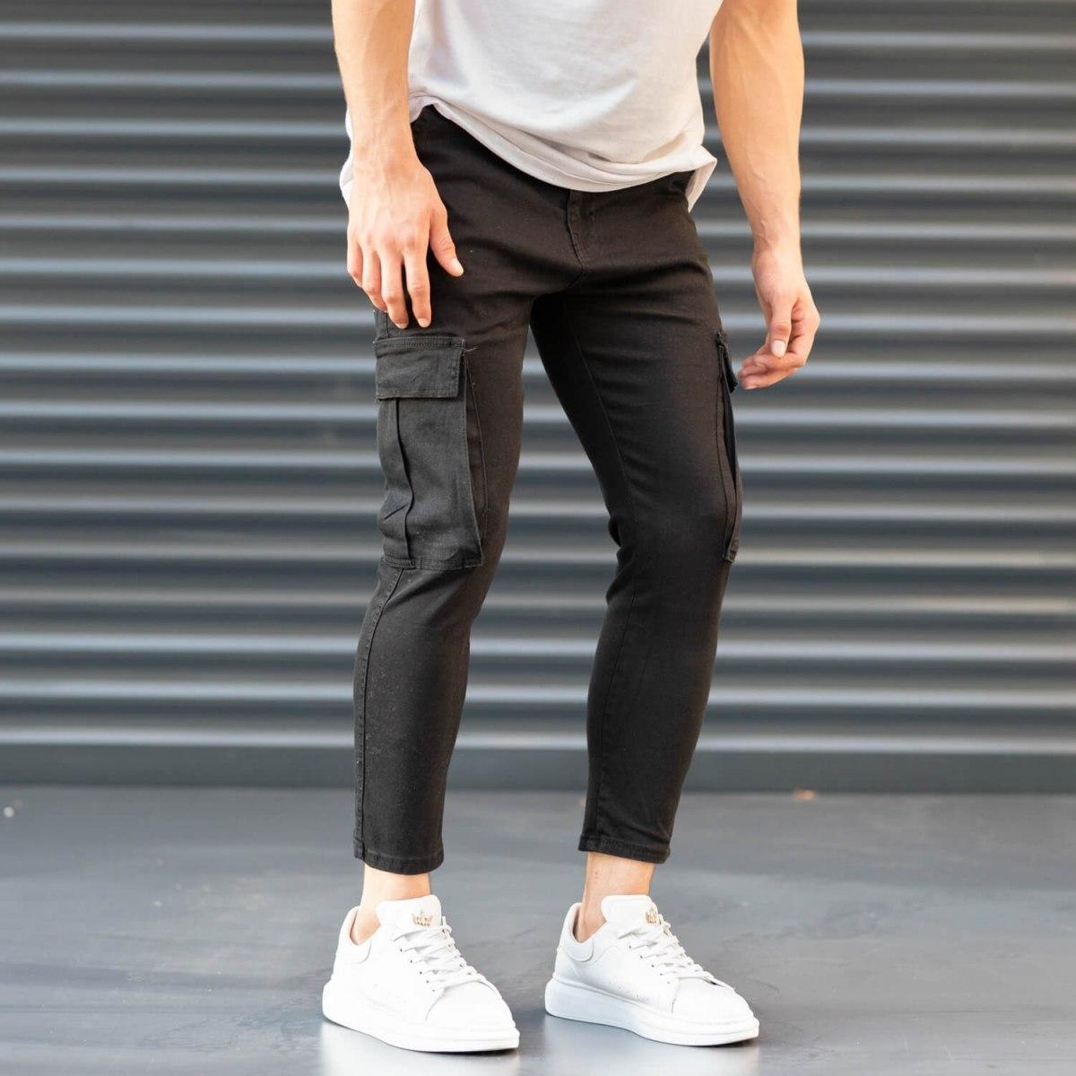 Men's Pocket Style Jeans in Black Mv Premium Brand - 4