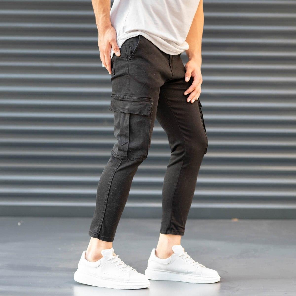 Men's Pocket Style Jeans in Black Mv Premium Brand - 5