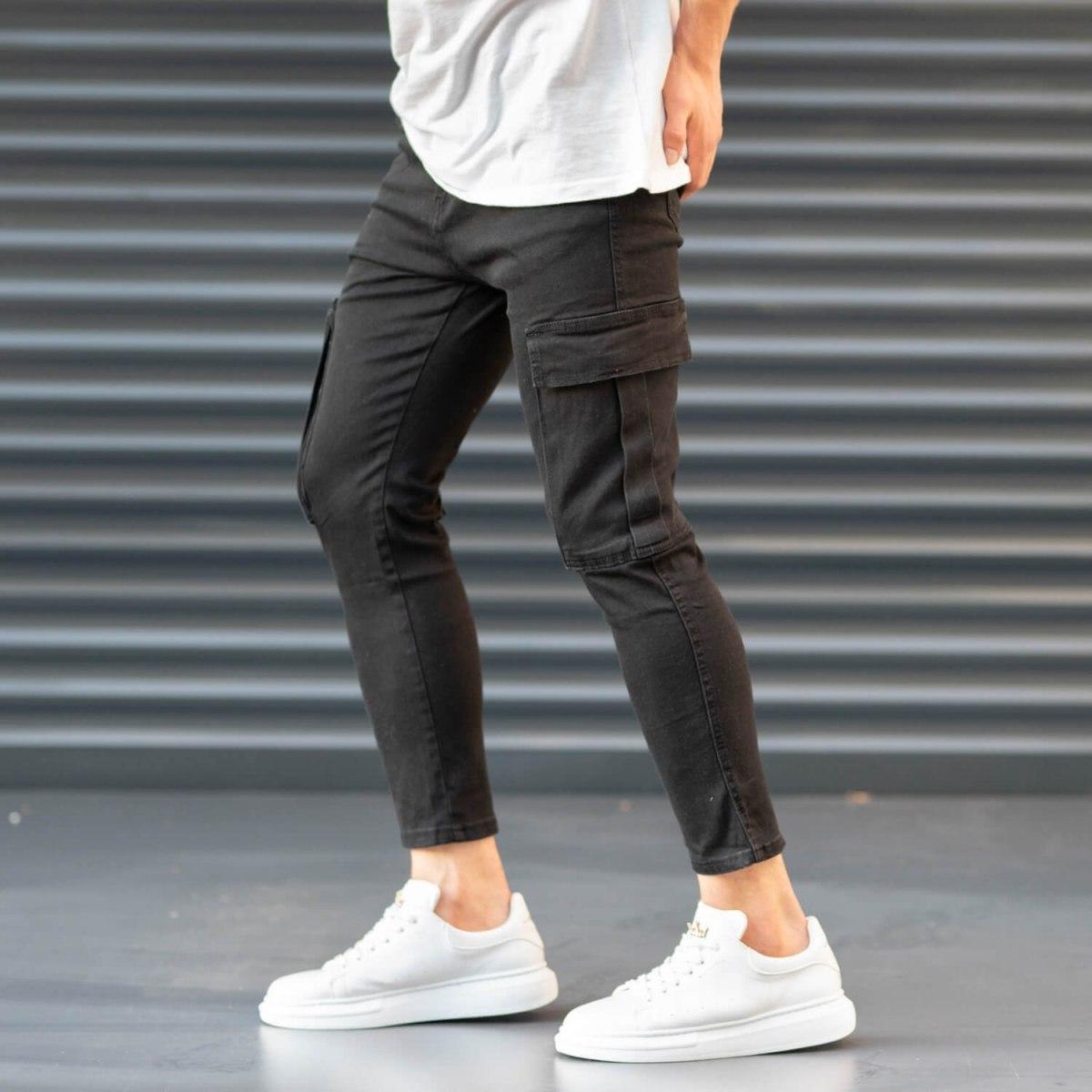 Men's Pocket Style Jeans in Black Mv Premium Brand - 6