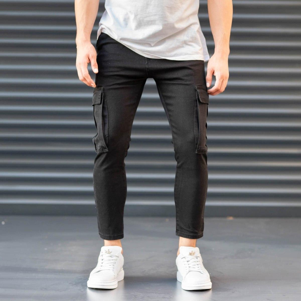 Men's Pocket Style Jeans in Black Mv Premium Brand - 1