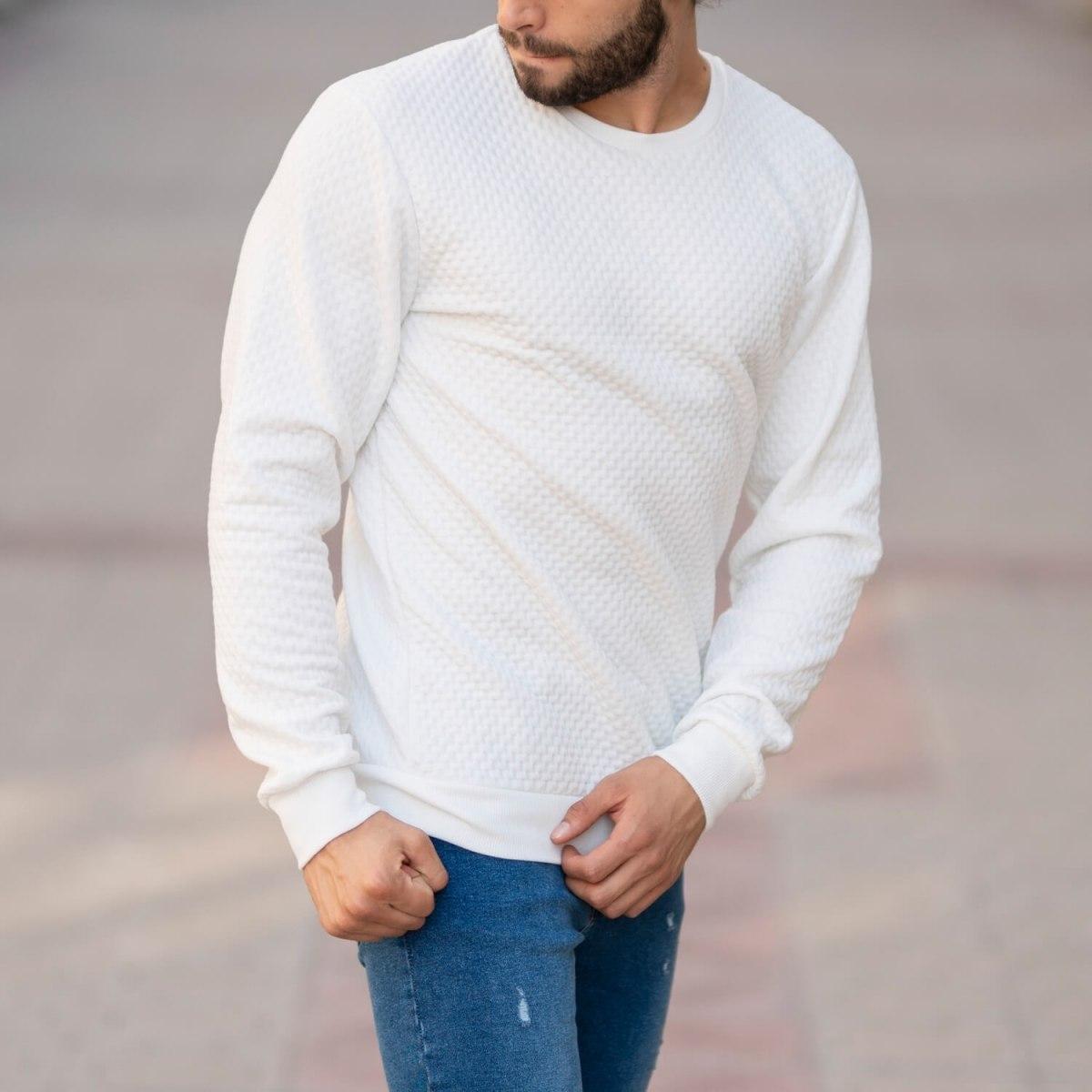 Casual SweatShirt in White Mv Premium Brand - 2