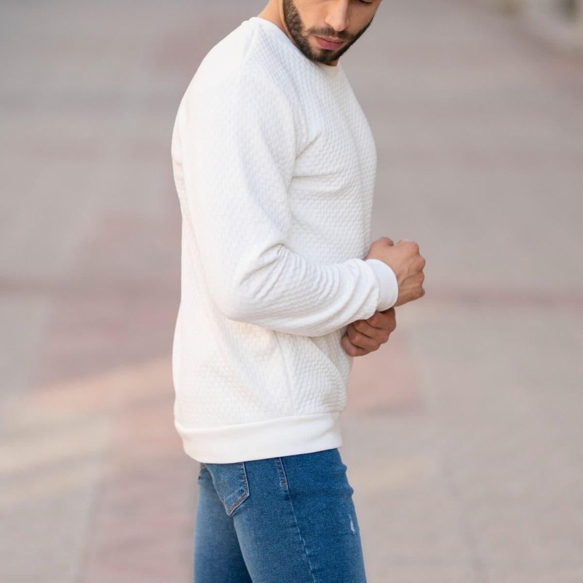 Casual SweatShirt in White Mv Premium Brand - 3