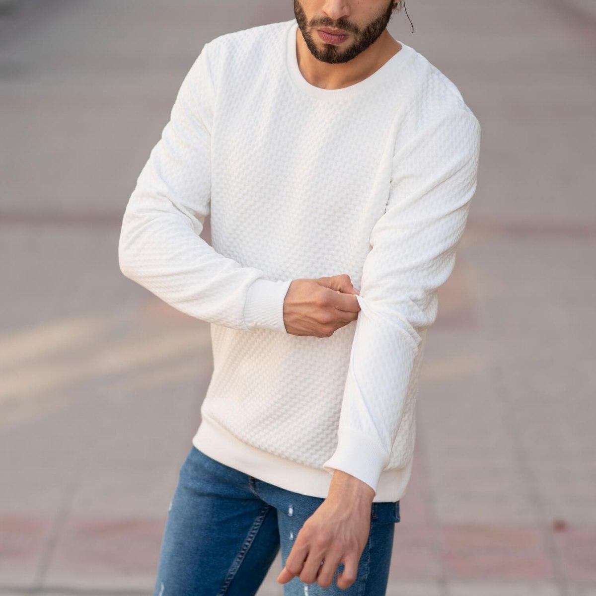 Casual SweatShirt in White Mv Premium Brand - 5