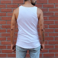 Men's Gym Printed Workout Tank Top in White MV Brand - 1