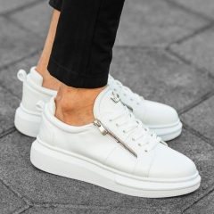 Herren Hype Sole Sneakers mit hoher Sohle und Reißverschlüssen in weiß Mv Premium Brand - 2