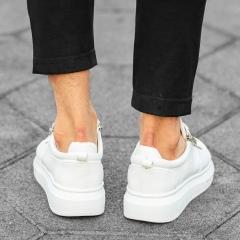 Herren Hype Sole Sneakers mit hoher Sohle und Reißverschlüssen in weiß Mv Premium Brand - 3