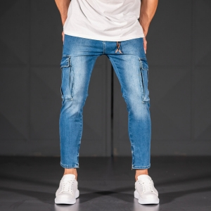 Men's Jeans with Pockets Style in Ocean Blue Mv Premium Brand - 1