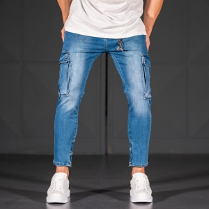 Men's Jeans with Pockets Style in Ocean Blue Mv Premium Brand - 2