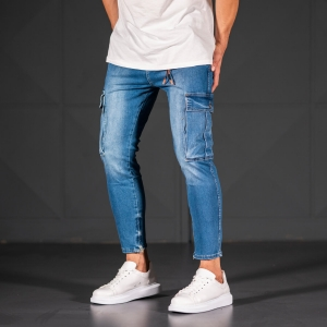 Men's Jeans with Pockets Style in Ocean Blue Mv Premium Brand - 3