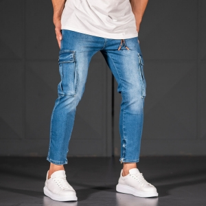 Men's Jeans with Pockets Style in Ocean Blue Mv Premium Brand - 4