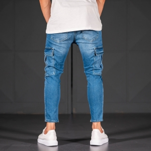 Men's Jeans with Pockets Style in Ocean Blue Mv Premium Brand - 5