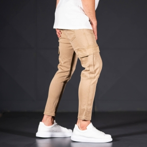 Men's Jeans with Pockets Style in Camel Mv Premium Brand - 2