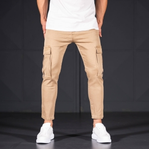 Men's Jeans with Pockets Style in Camel Mv Premium Brand - 1