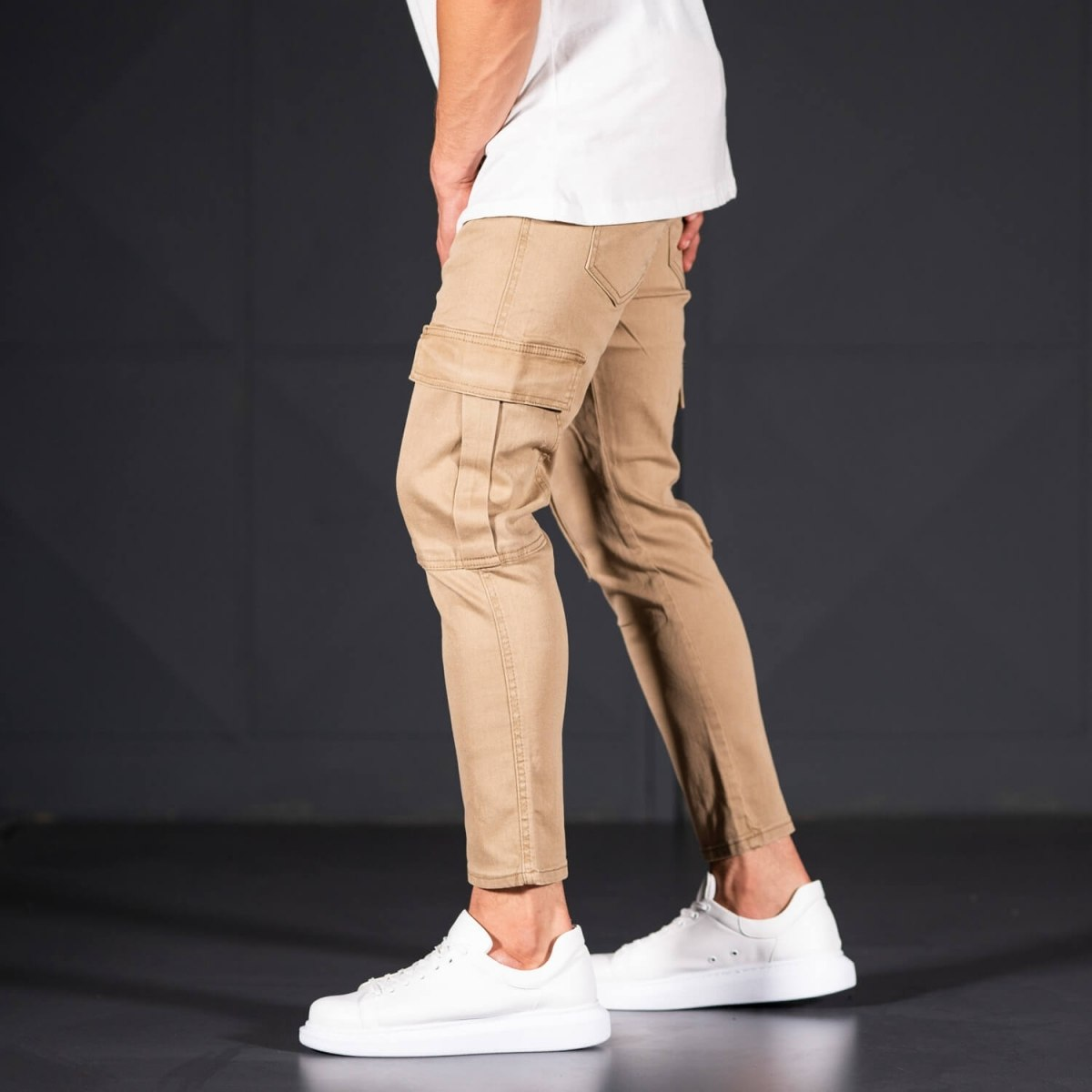 Men's Jeans with Pockets Style in Camel Mv Premium Brand - 3