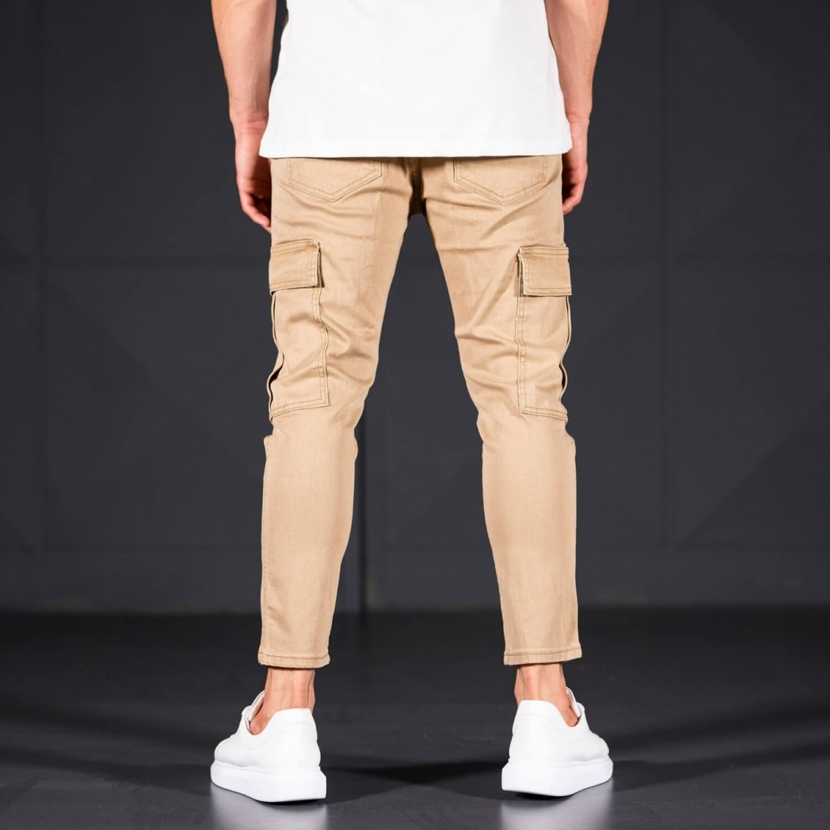 Men's Jeans with Pockets Style in Camel Mv Premium Brand - 4