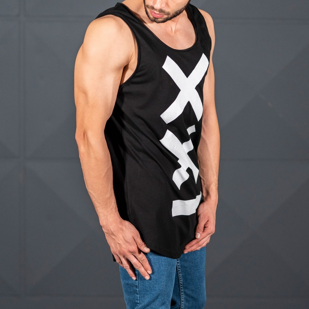 Men's Athletic Sleeveless XX Tall Tank Top Black Mv Premium Brand - 3