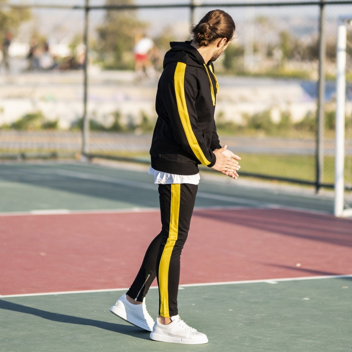 Men's Yellow-Stripped Black Tracksuit Mv Premium Brand - 1