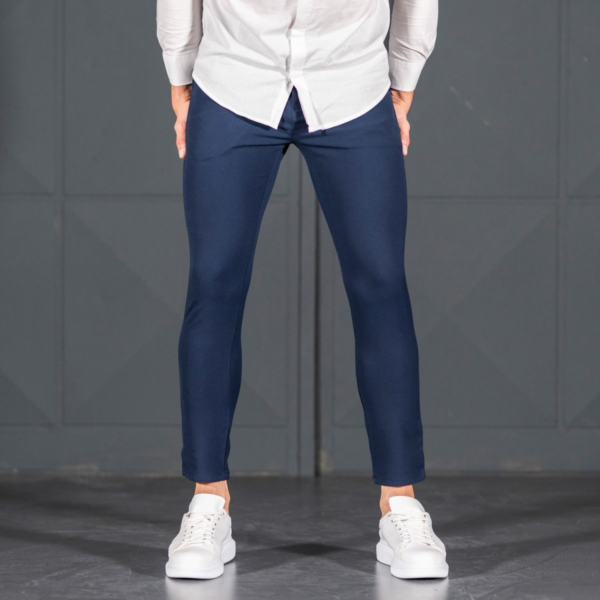 Navy Blue Slim-Fit Trousers Mv Premium Brand - 1