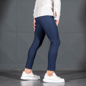 Navy Blue Slim-Fit Trousers Mv Premium Brand - 3