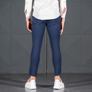 Navy Blue Slim-Fit Trousers Mv Premium Brand - 4
