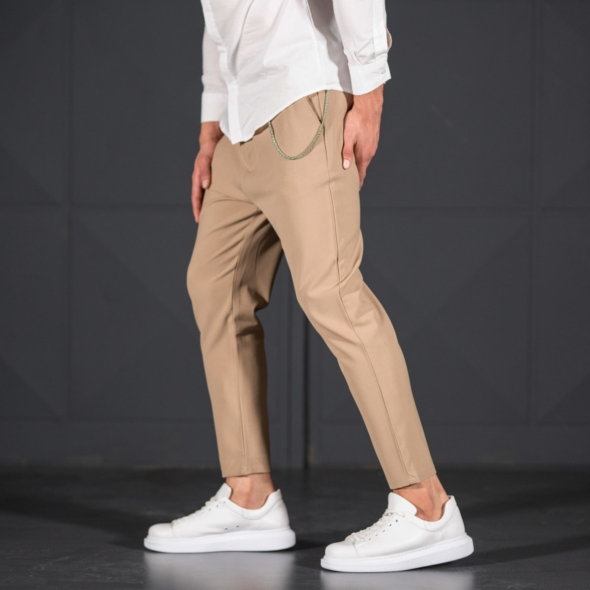 Cream Casual Slim-Fit Trousers with Chain Mv Premium Brand - 2