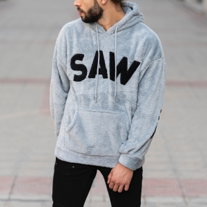Men's Saw Hooded Sweatshirt With Pockets Gray Mv Premium Brand - 1