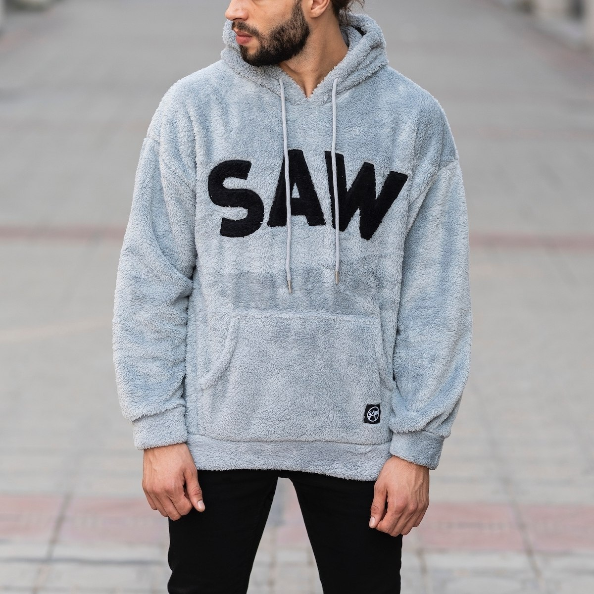 Men's Saw Hooded Sweatshirt With Pockets Gray Mv Premium Brand - 2