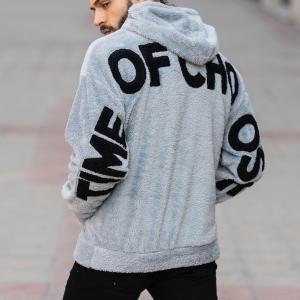 Men's Saw Hooded Sweatshirt With Pockets Gray Mv Premium Brand - 3
