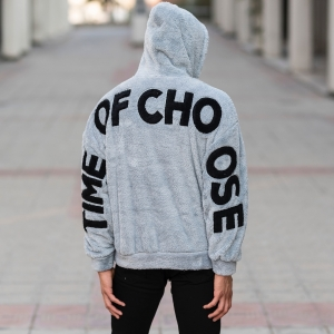 Men's Saw Hooded Sweatshirt With Pockets Gray Mv Premium Brand - 4