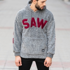Men's Saw Hooded Sweatshirt With Pockets in Anthracite Mv Premium Brand - 1