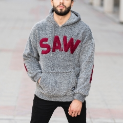 Men's Saw Hooded Sweatshirt With Pockets in Anthracite Mv Premium Brand - 4
