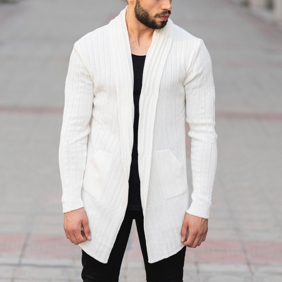 Striped Collar White Cardigan