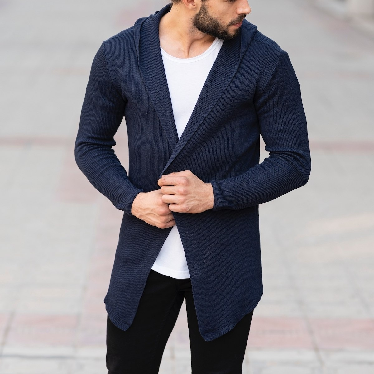 Hooded Style Navy Blue...
