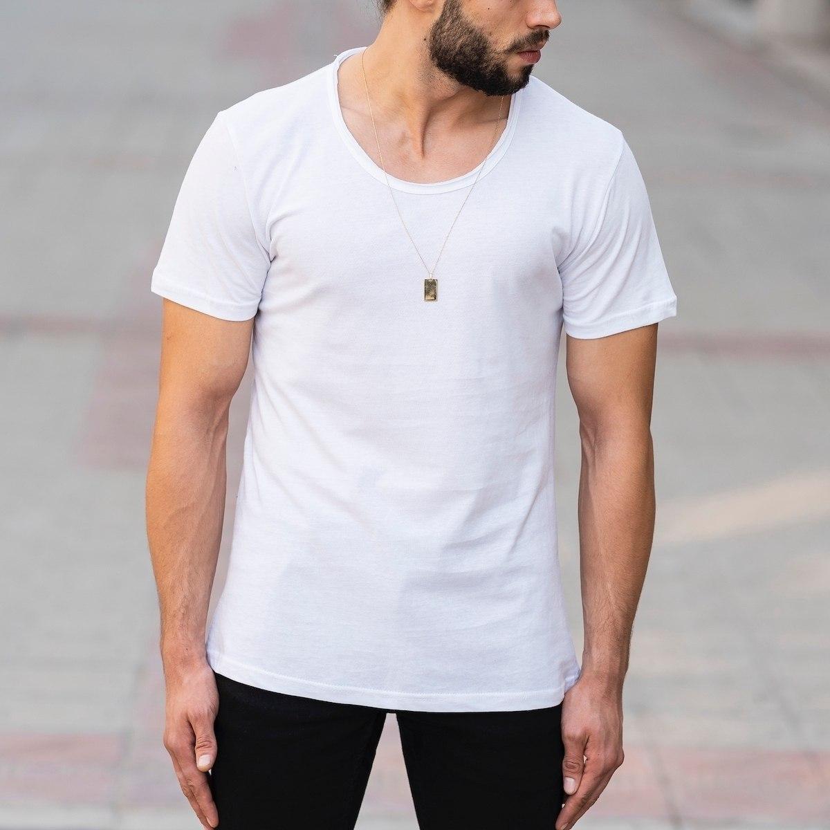 Croped Collar White T-Shirt Mv Premium Brand - 1