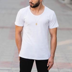 Croped Collar White T-Shirt Mv Premium Brand - 2
