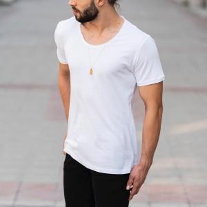 Croped Collar White T-Shirt Mv Premium Brand - 3