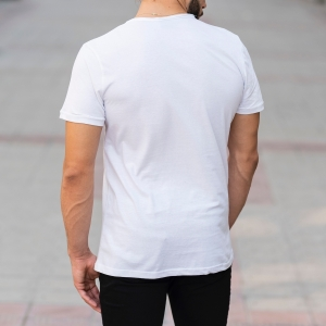 Croped Collar White T-Shirt Mv Premium Brand - 4