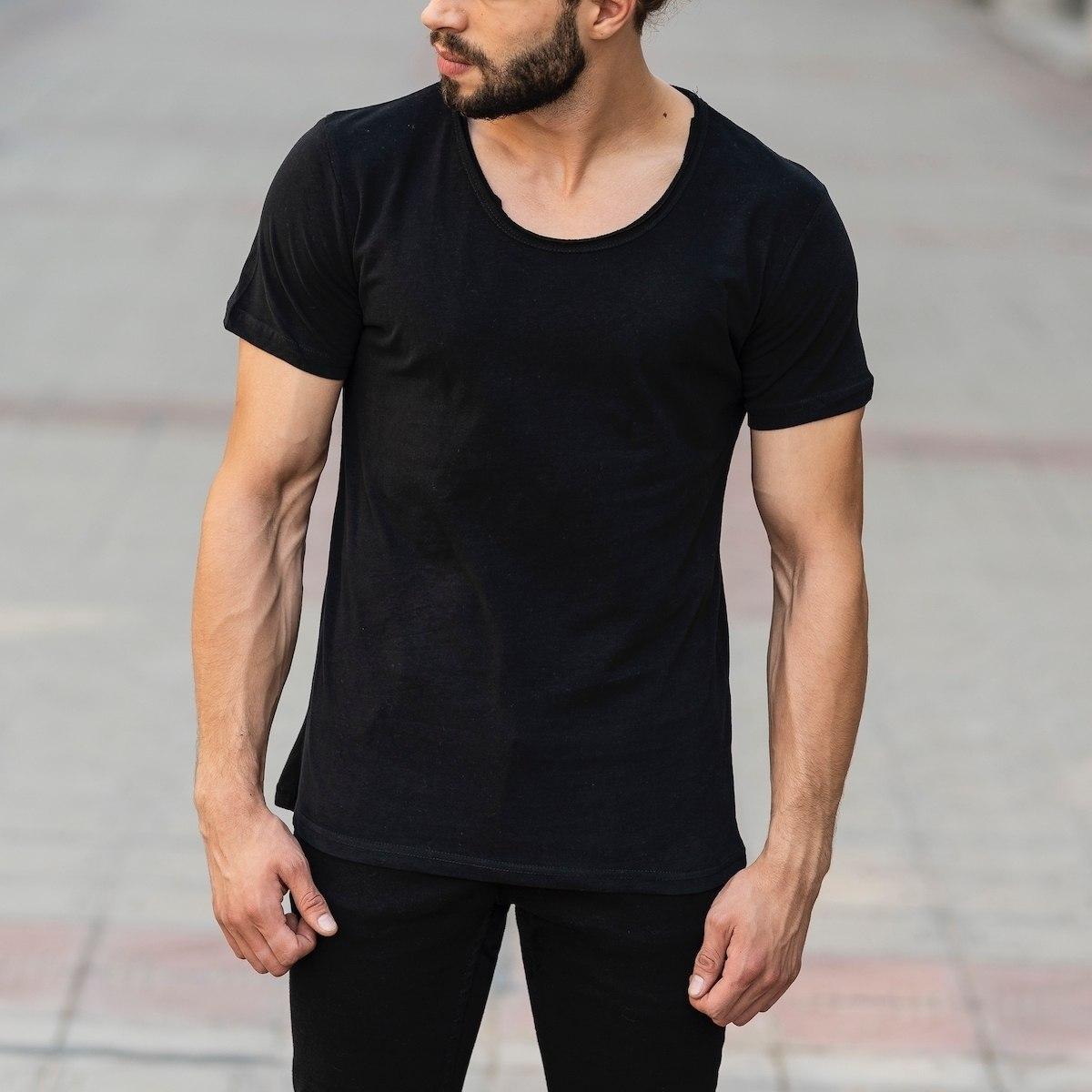 Croped Collar Black T-Shirt Mv Premium Brand - 1