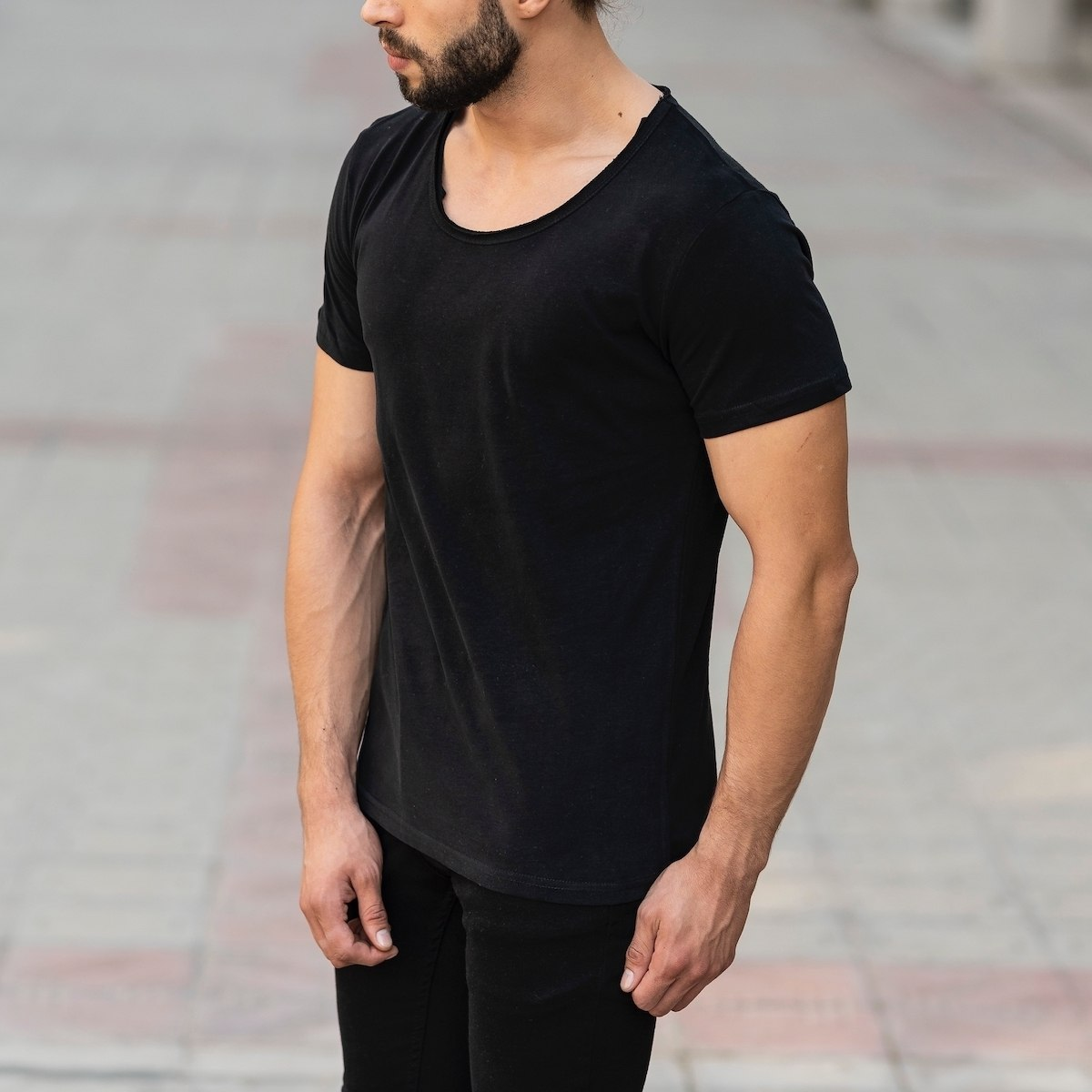 Croped Collar Black T-Shirt Mv Premium Brand - 3