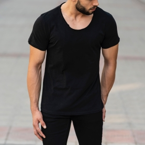 Croped Collar Black T-Shirt Mv Premium Brand - 4