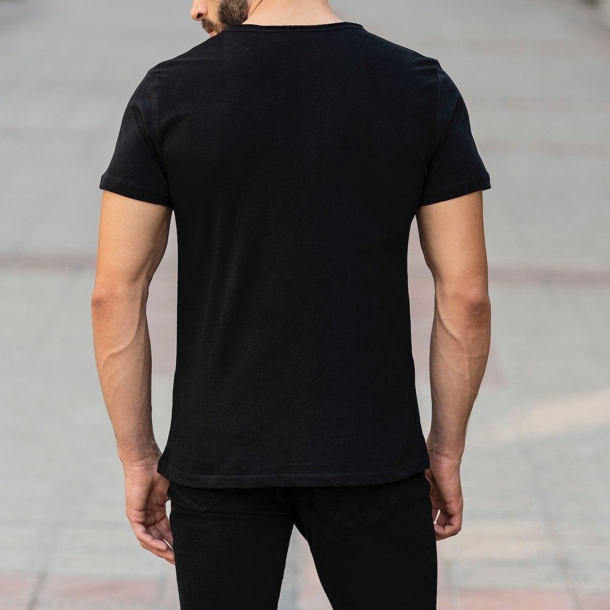 Croped Collar Black T-Shirt Mv Premium Brand - 5
