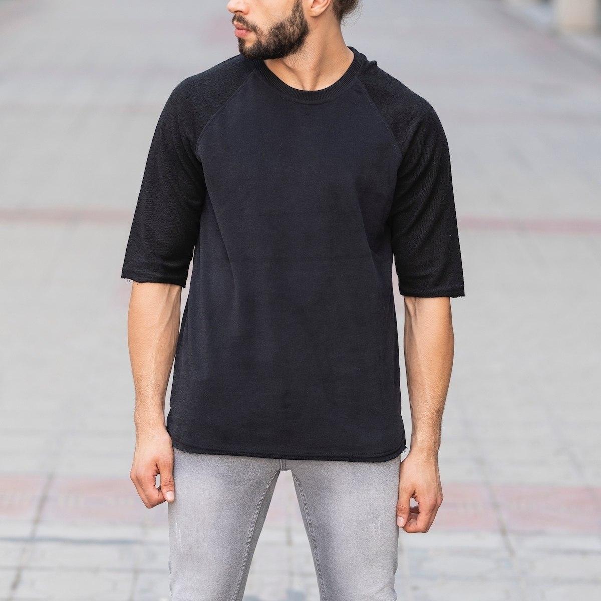 Half Sleeved Black Sweatshirt